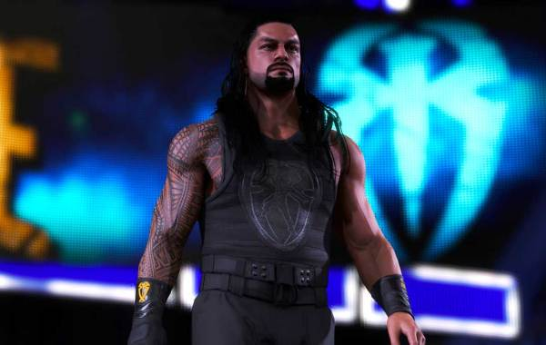 WWE superstar Roman Reigns in WWE 2K20 on Xbox One, PS4, and PC. Courtesy of 2K.