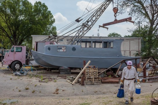Salvaged boat outside Billy Tripp's studio