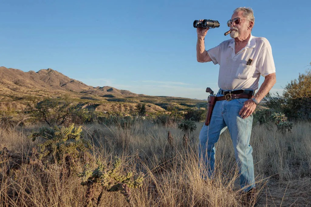 Frank Bruno watching for rattlesnakes; near Nogales, AZ 2017