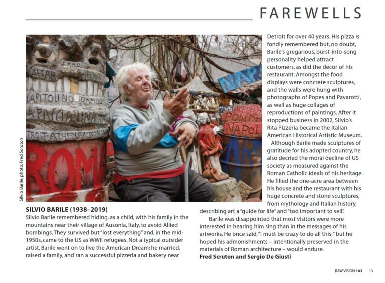 Silvio Barile Obituary in Raw Vision magazine 102