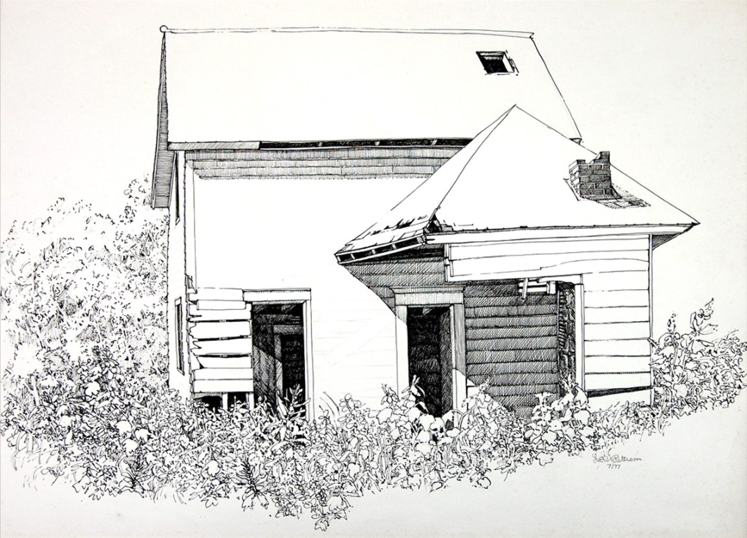 Norwegian farmer Ole Haldon old homestead ink drawing by Fred W. Peterson