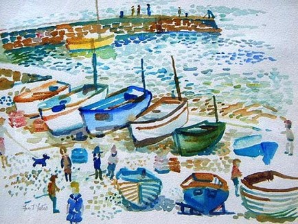Sennen Harbour watercolour