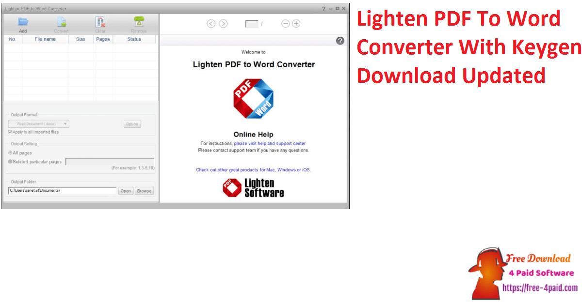 Lighten PDF To Word Converter With Keygen Download Updated