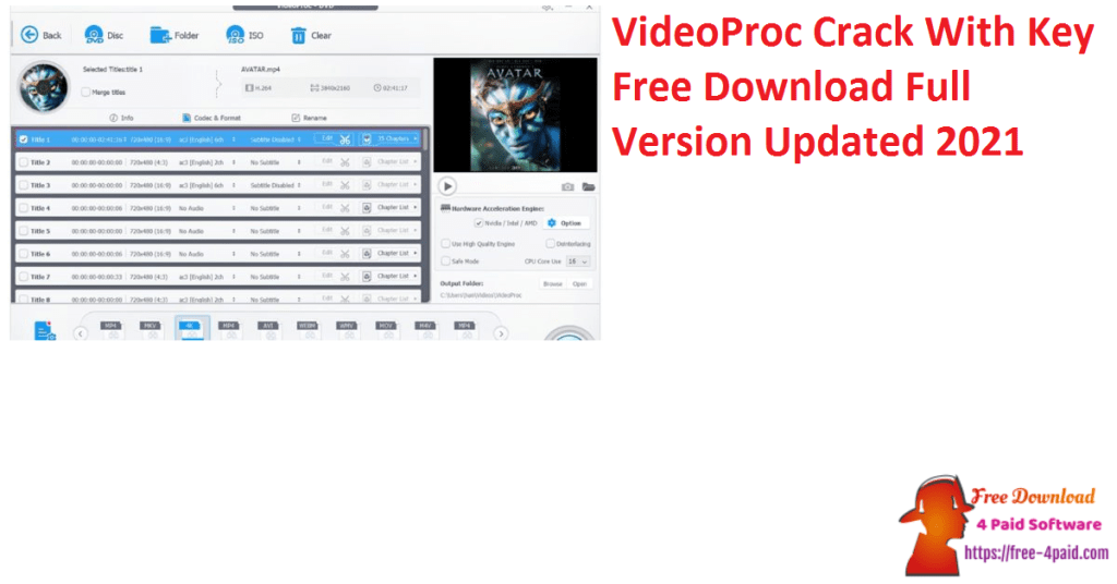 VideoProc Crack With Key Free Download Full Version Updated 2021