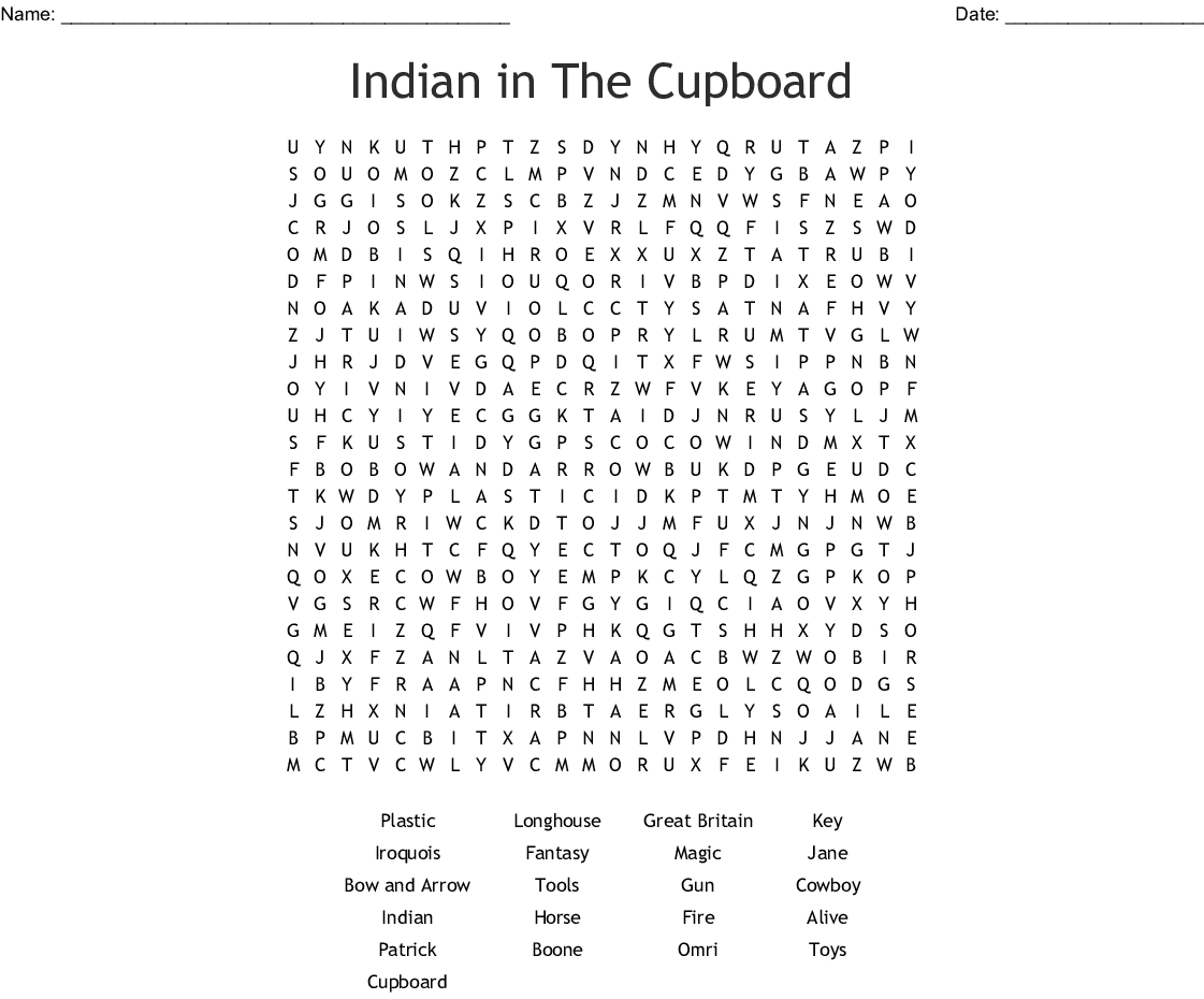 Indian In The Cupboard Free Printable Worksheets