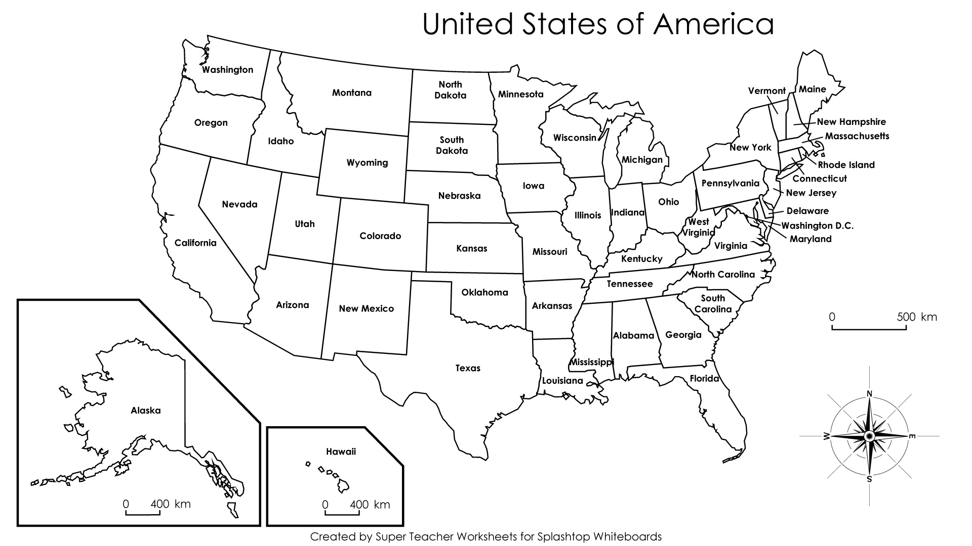 Free Printable Labeled Map Of The United States