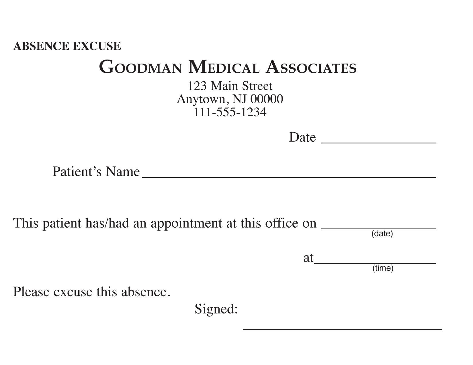 36 Free Fill In Blank Doctors Note Templates For Work