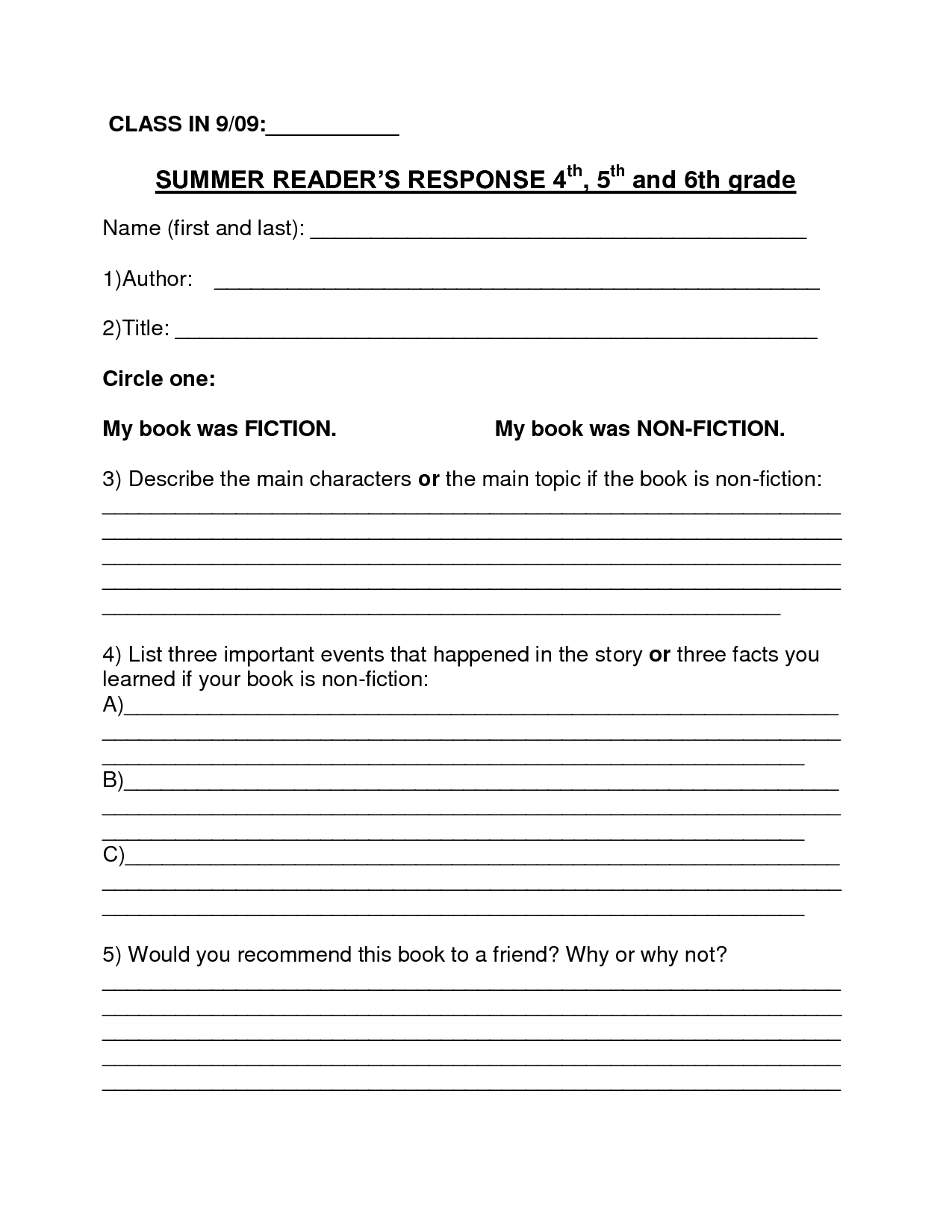 Free Printable Summarizing Worksheets 4th Grade