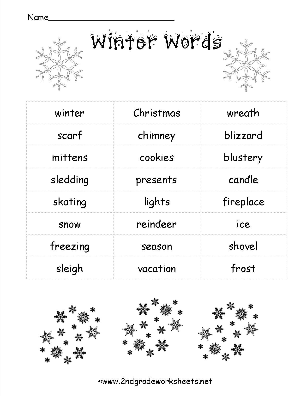 Free Printable Holiday Worksheets