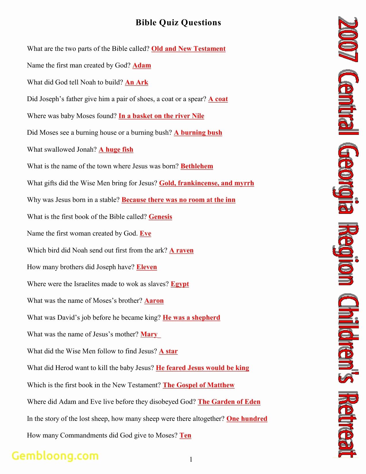 Free Printable Bible Trivia For Adults