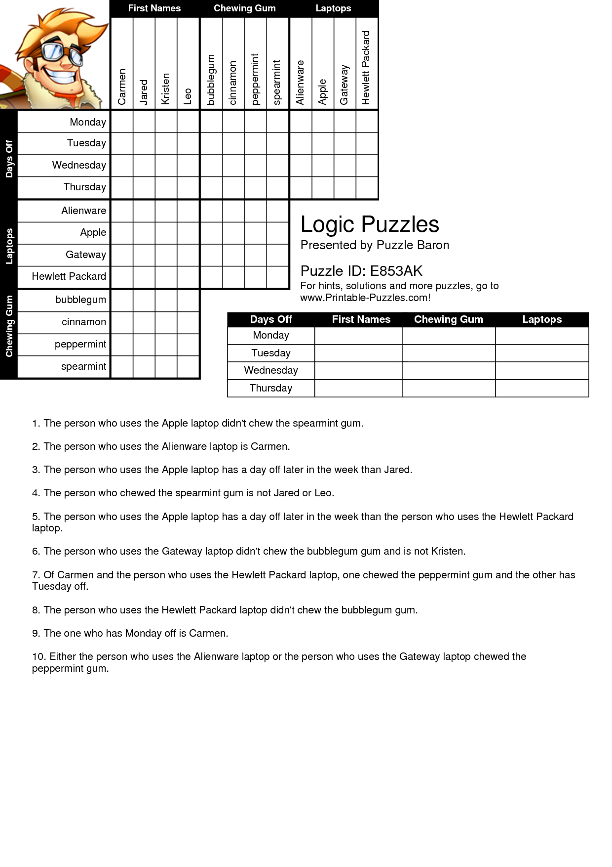 Free Printable Logic Puzzles For High School Students