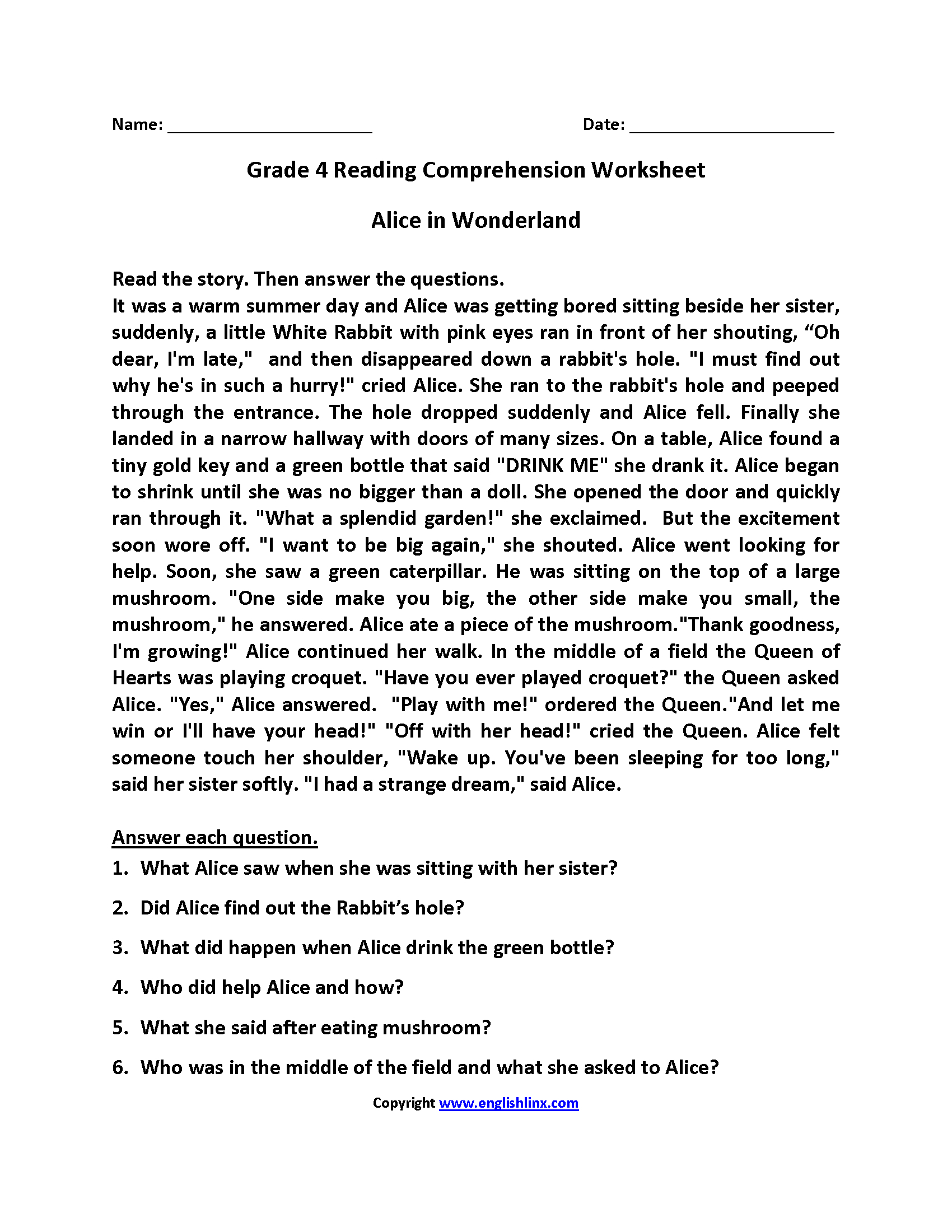 Free Printable 4th Grade Reading Worksheets