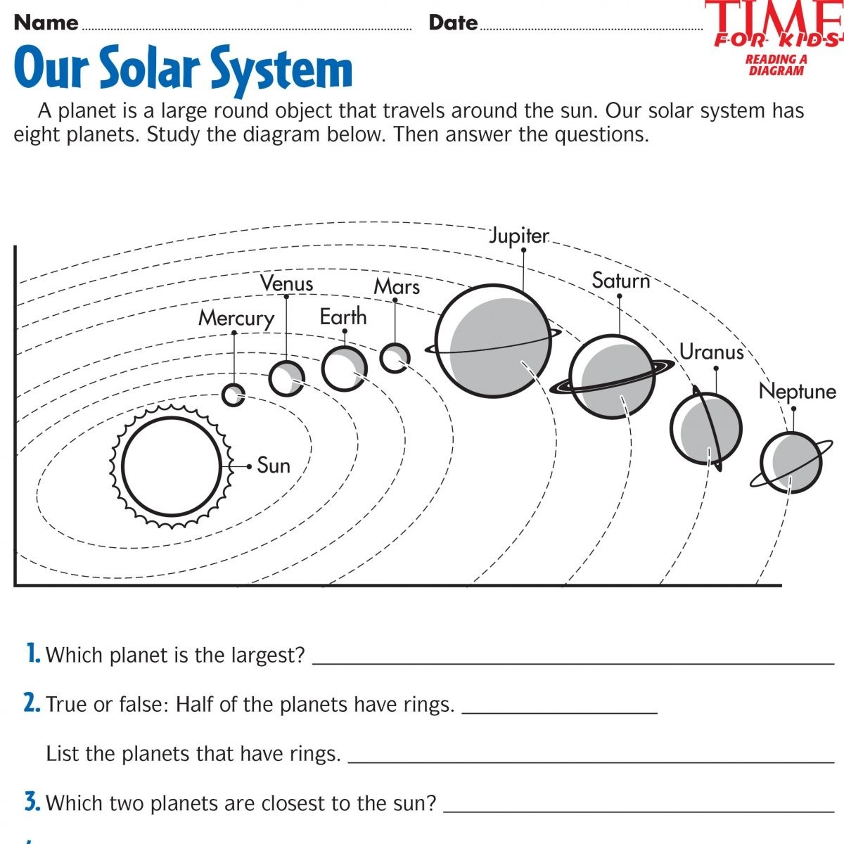 Song For Kids Planets Solar System Song Worksheet