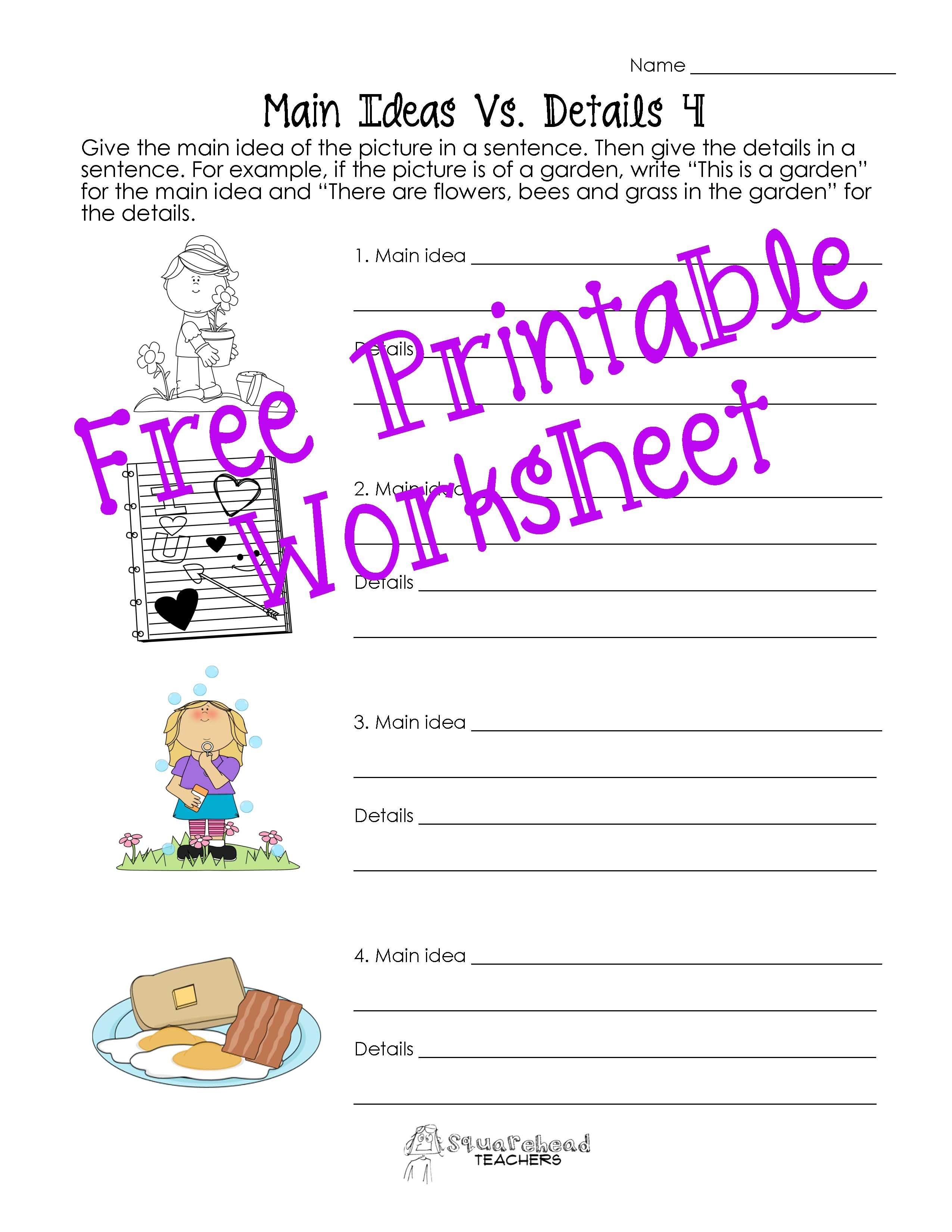 Free Printable Main Idea Worksheets