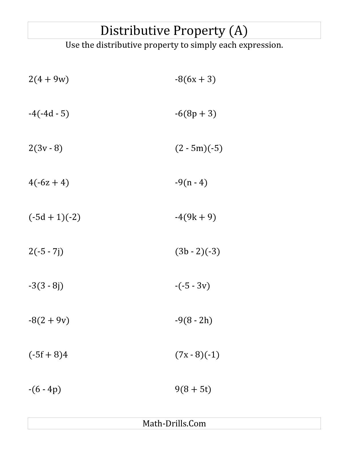 6th Grade Math Properties Worksheet