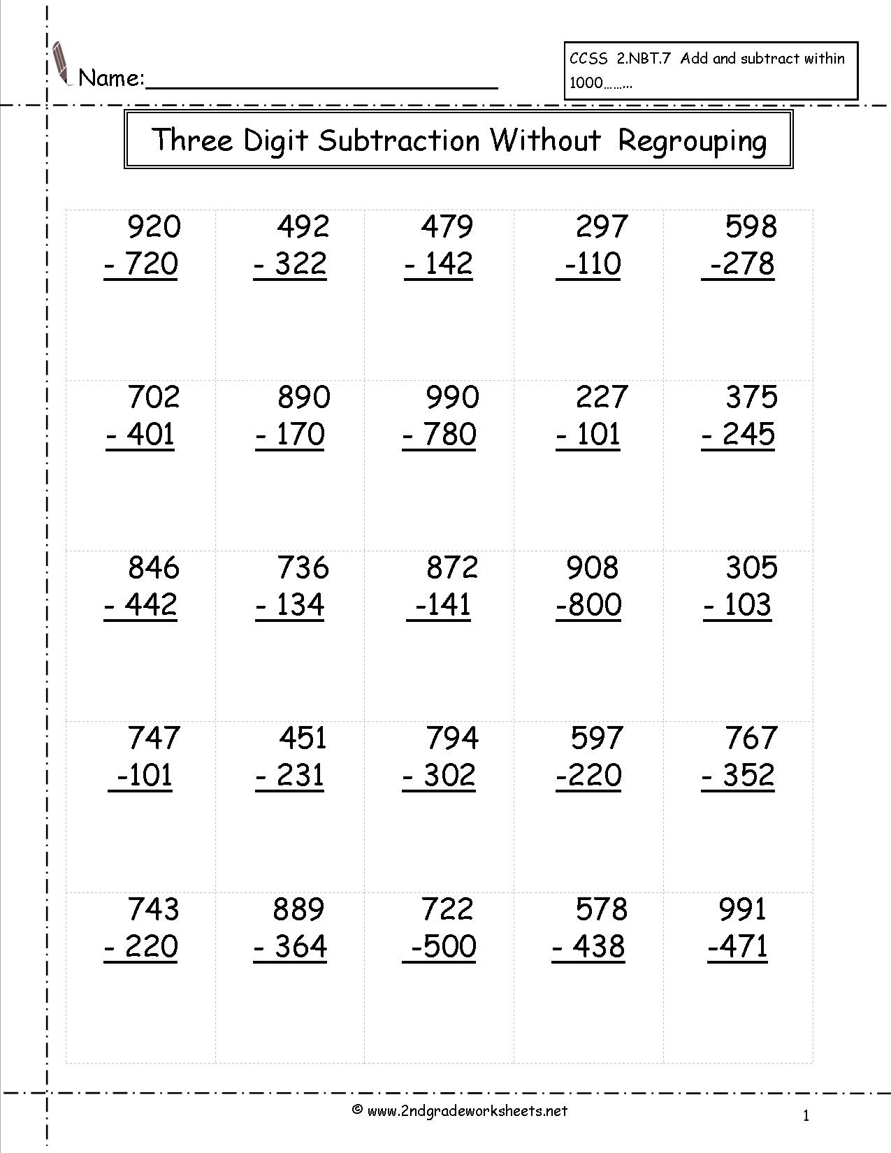 Free Printable 3 Digit Subtraction With Regrouping