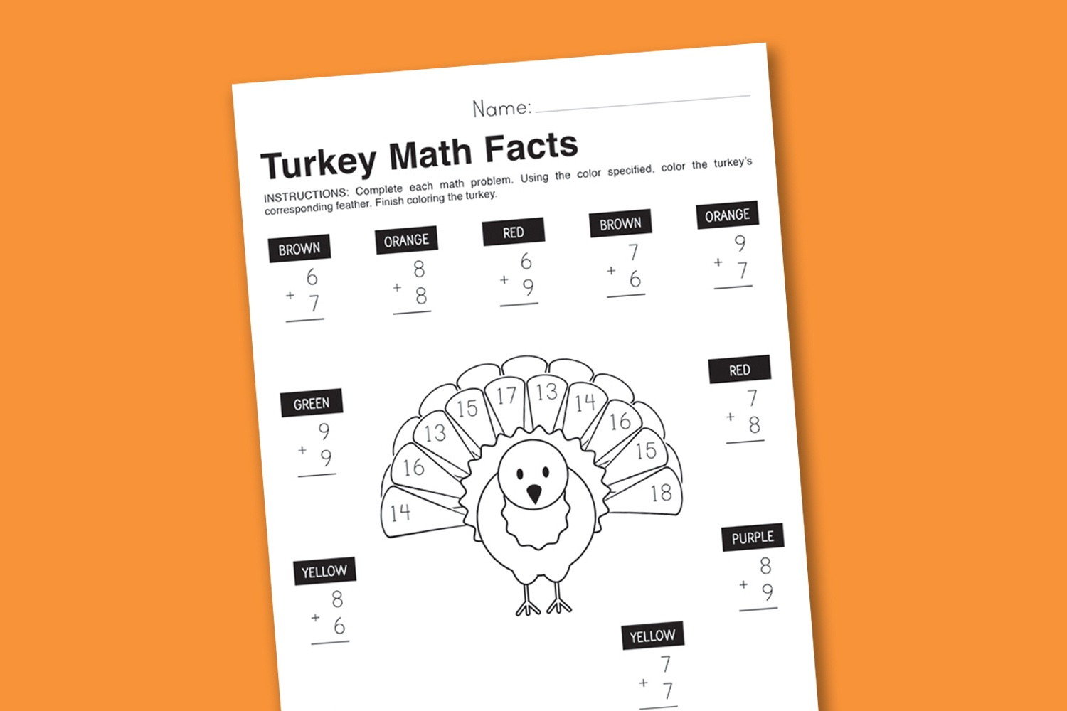 Worksheet Wednesday Turkey Math Facts