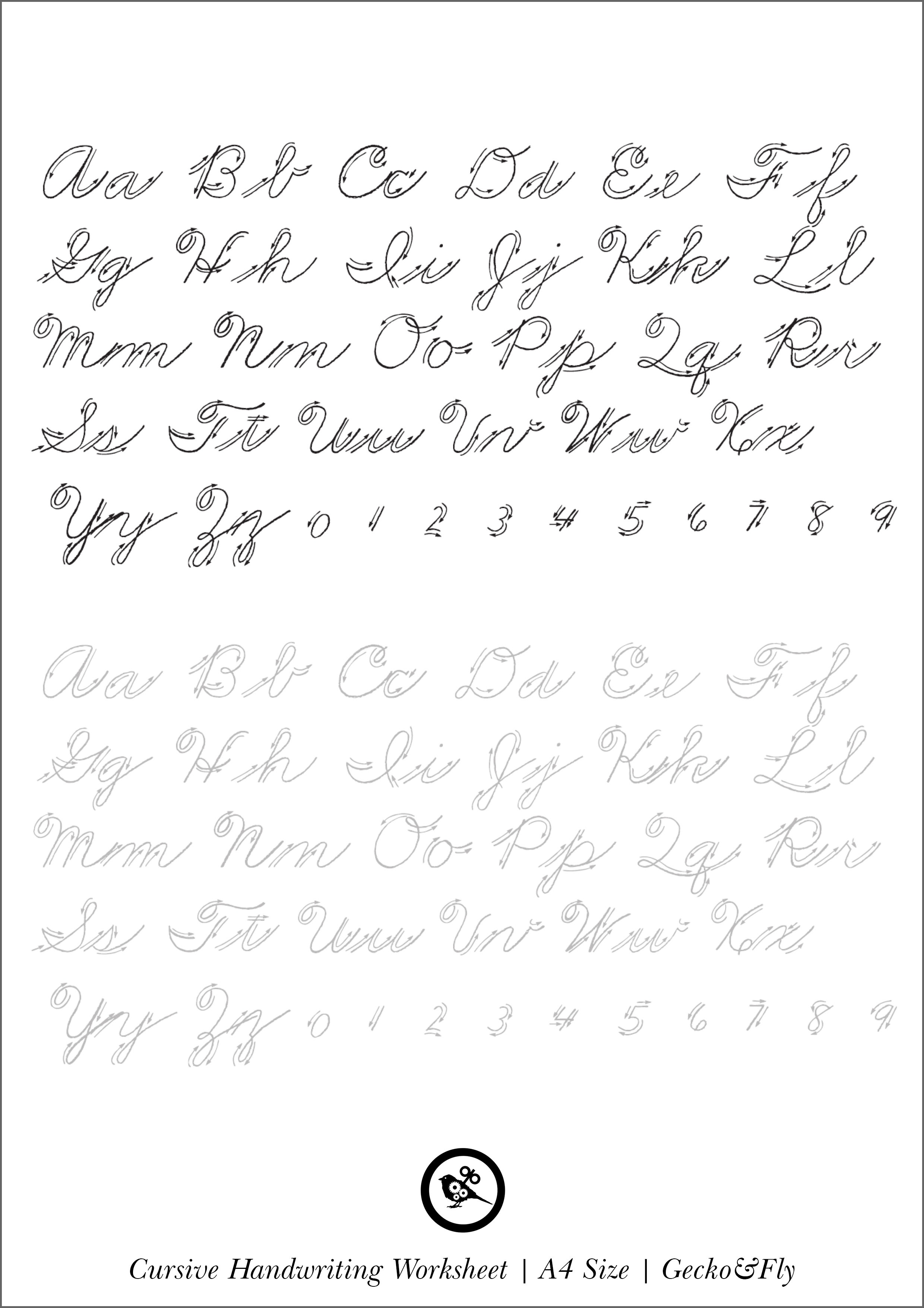 Abc Cursive Handwriting Worksheets 4 Cursive Alphabet