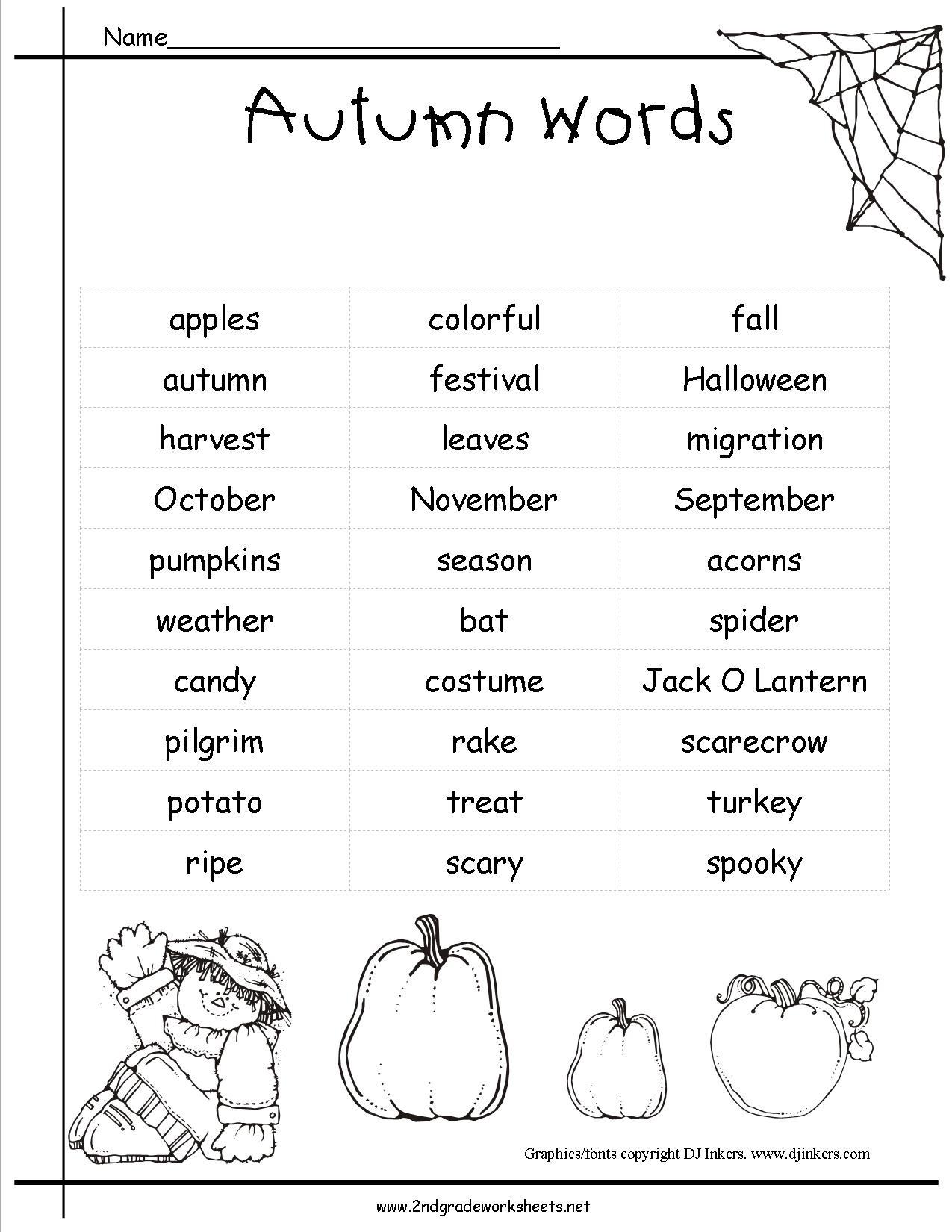 Autumn Fall Worksheet Worksheet