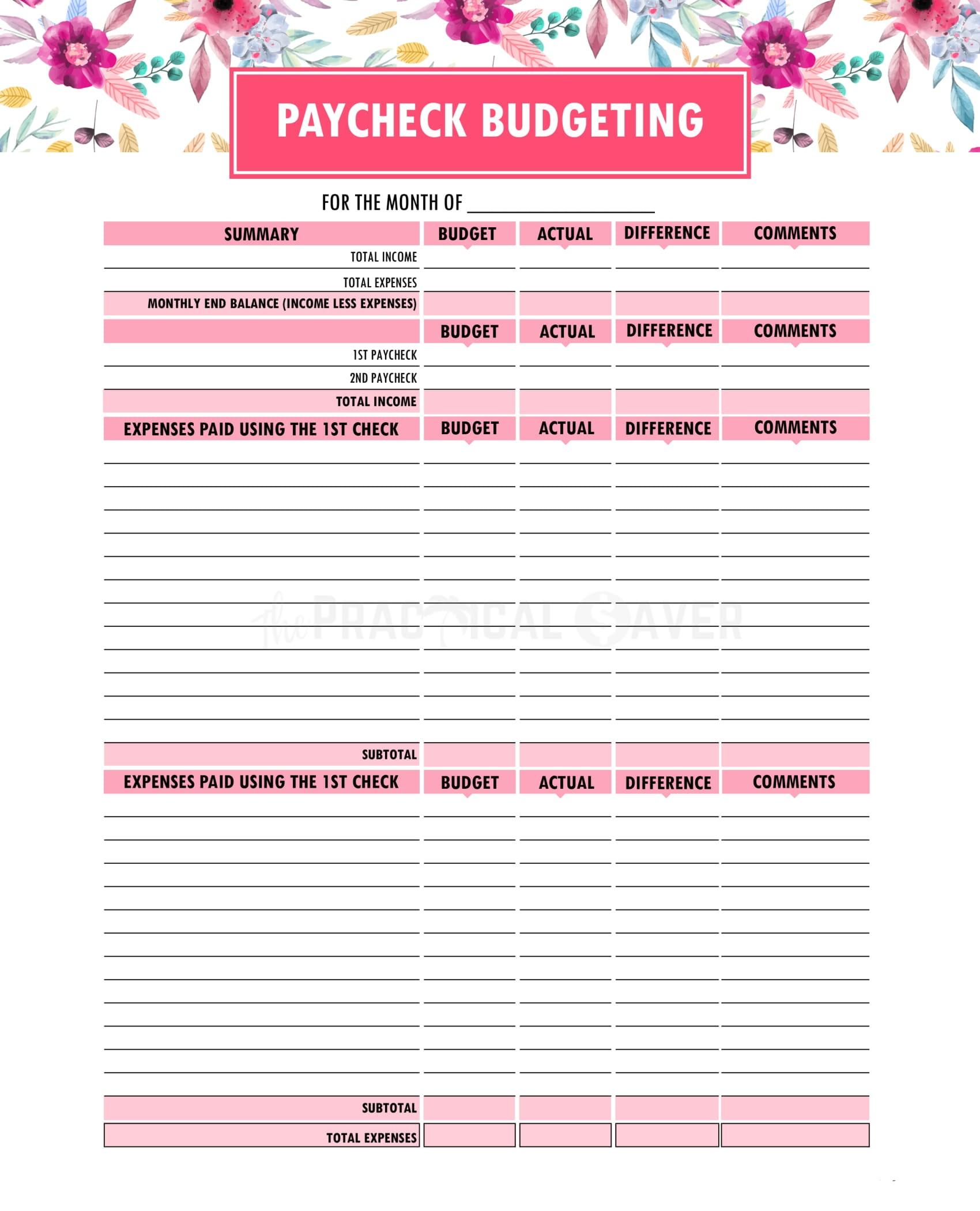 Free Printable Budget Binder Worksheets