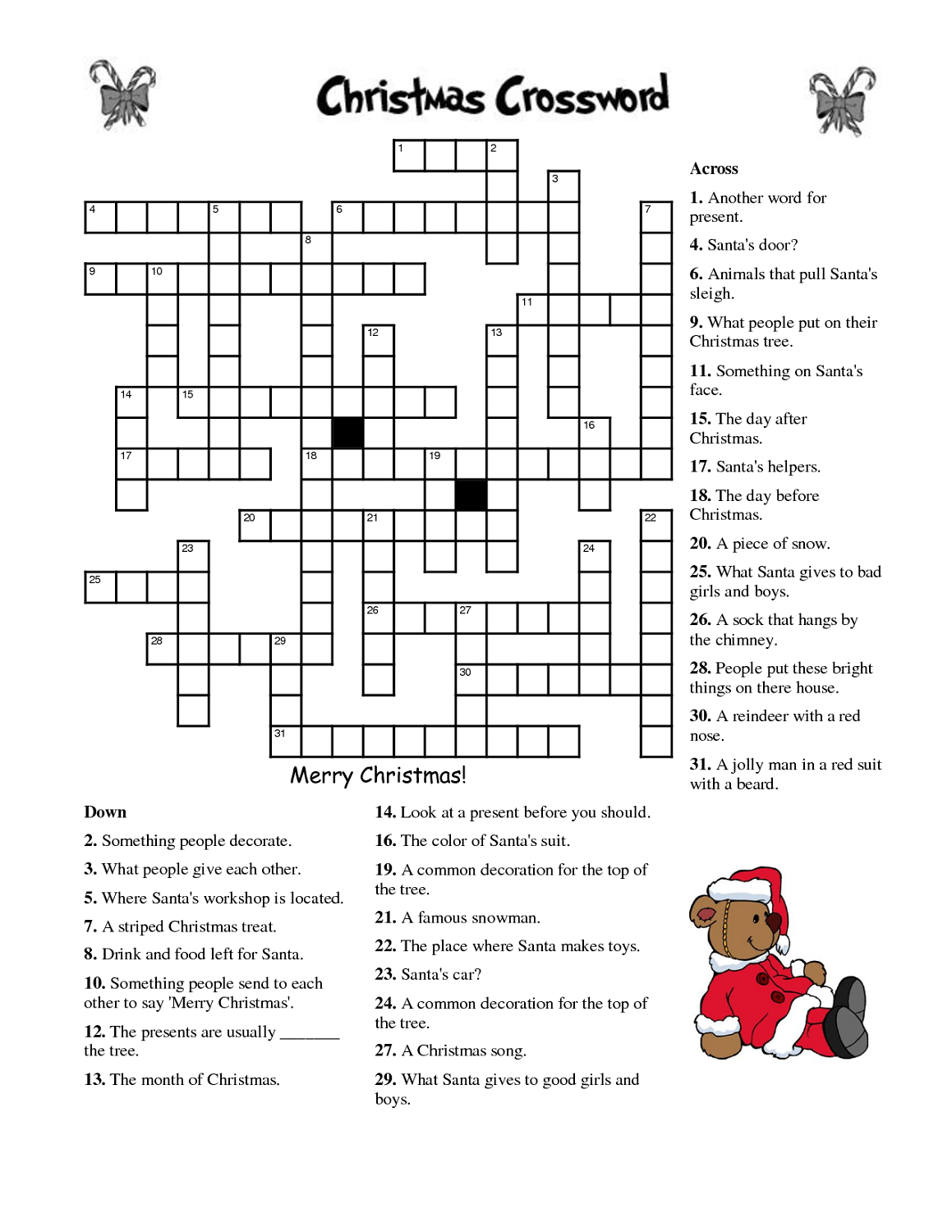 Free Printable Christmas Crossword Puzzles For Adults