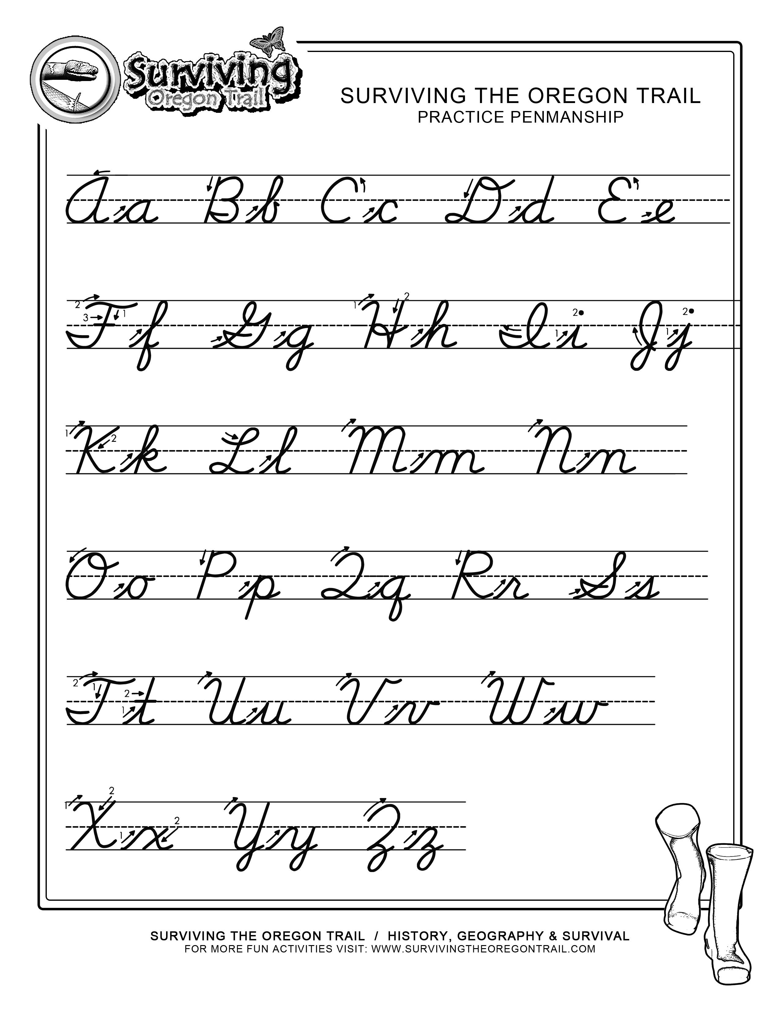 Cursive Letters Writing Worksheet Printable