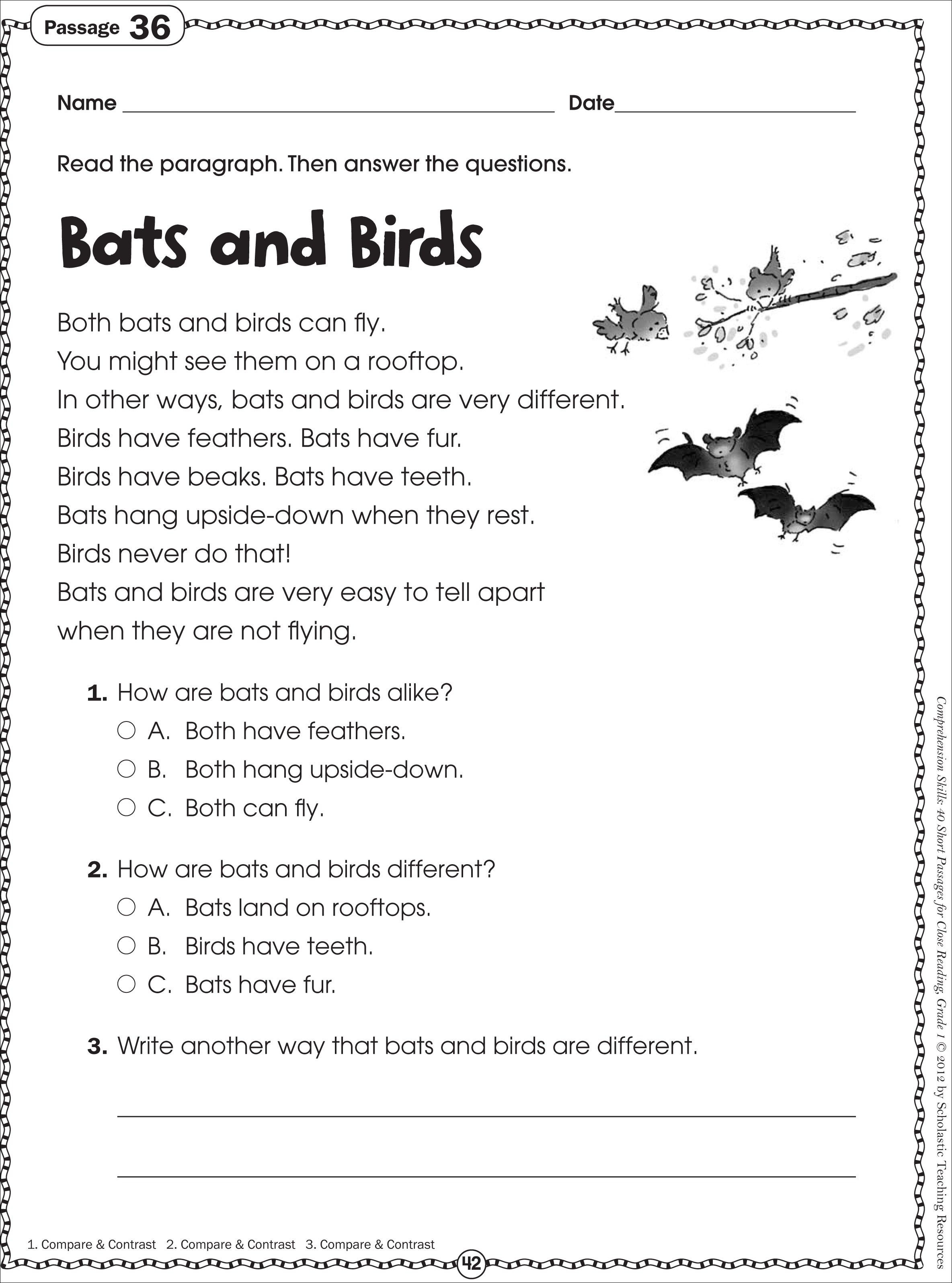 Free Printable Reading Comprehension Worksheets For 3rd