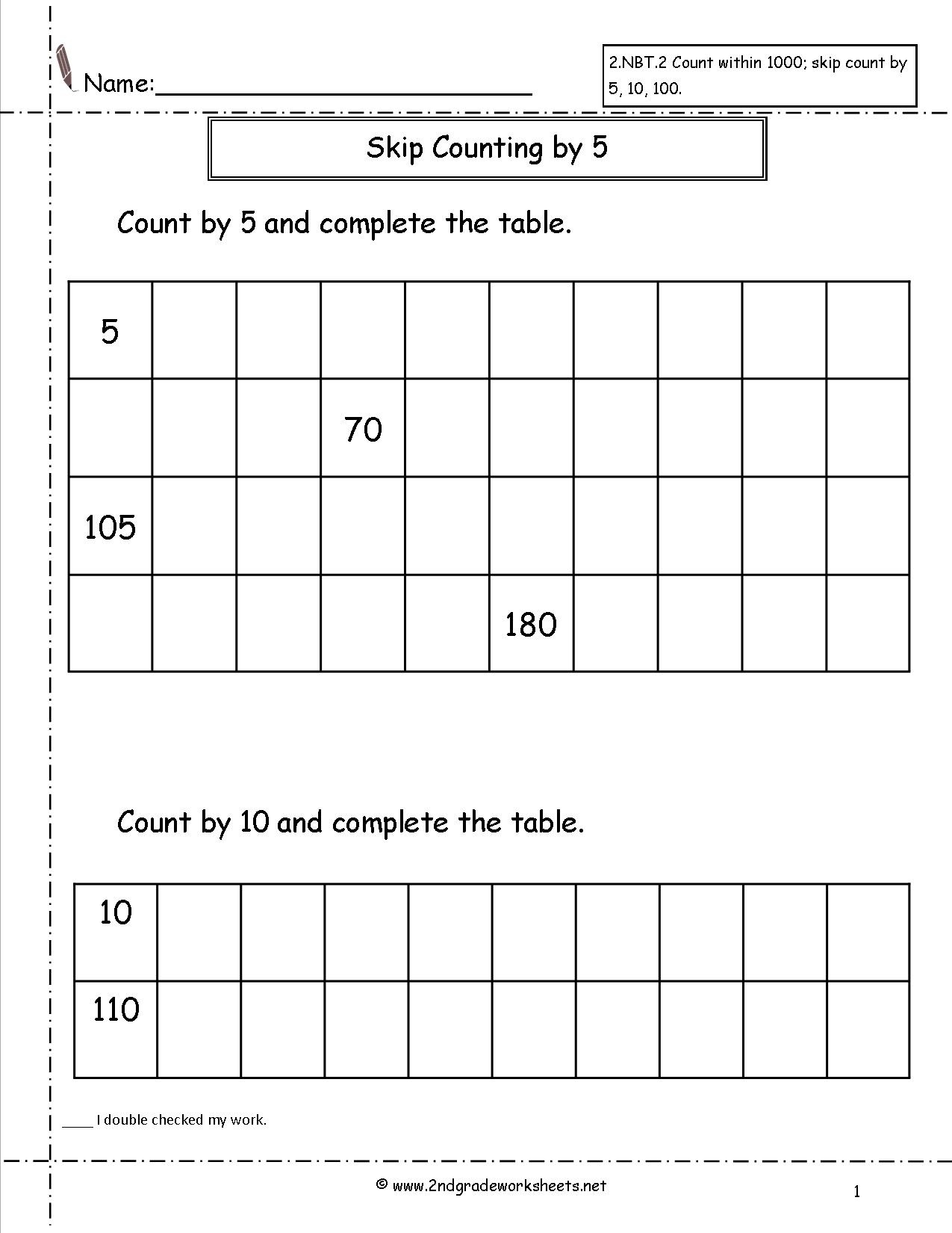 Free Printable Skip Counting Worksheets