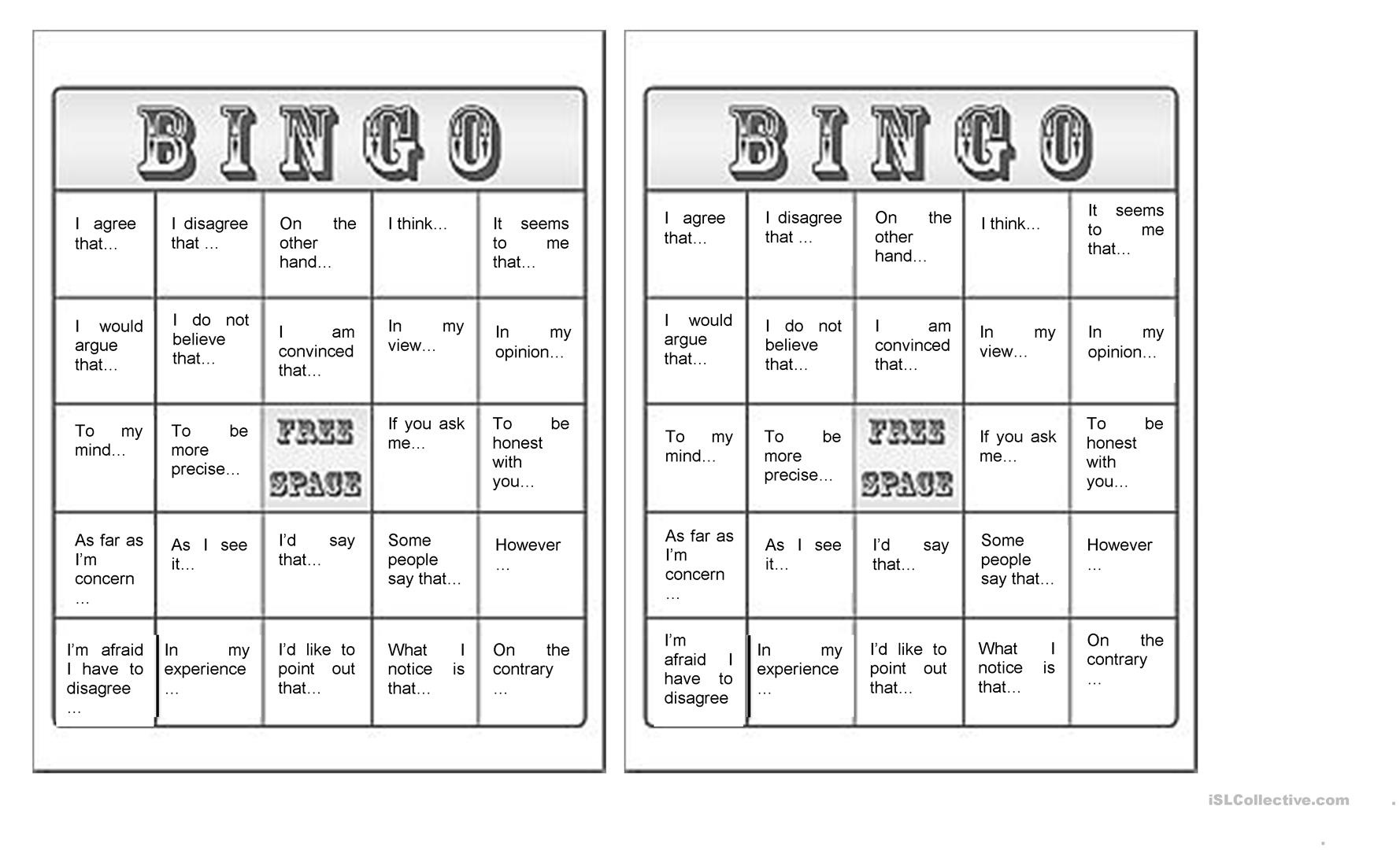 Free Printable Parts Of Speech Bingo