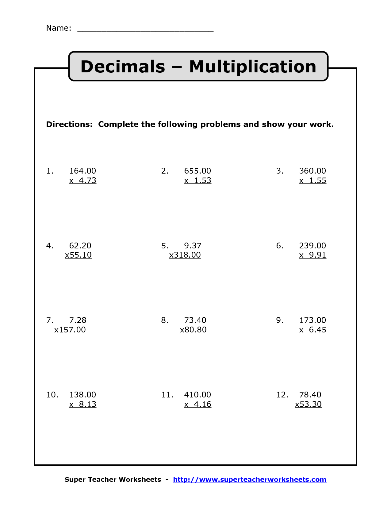 Multiplying Decimals Free Printable Worksheets