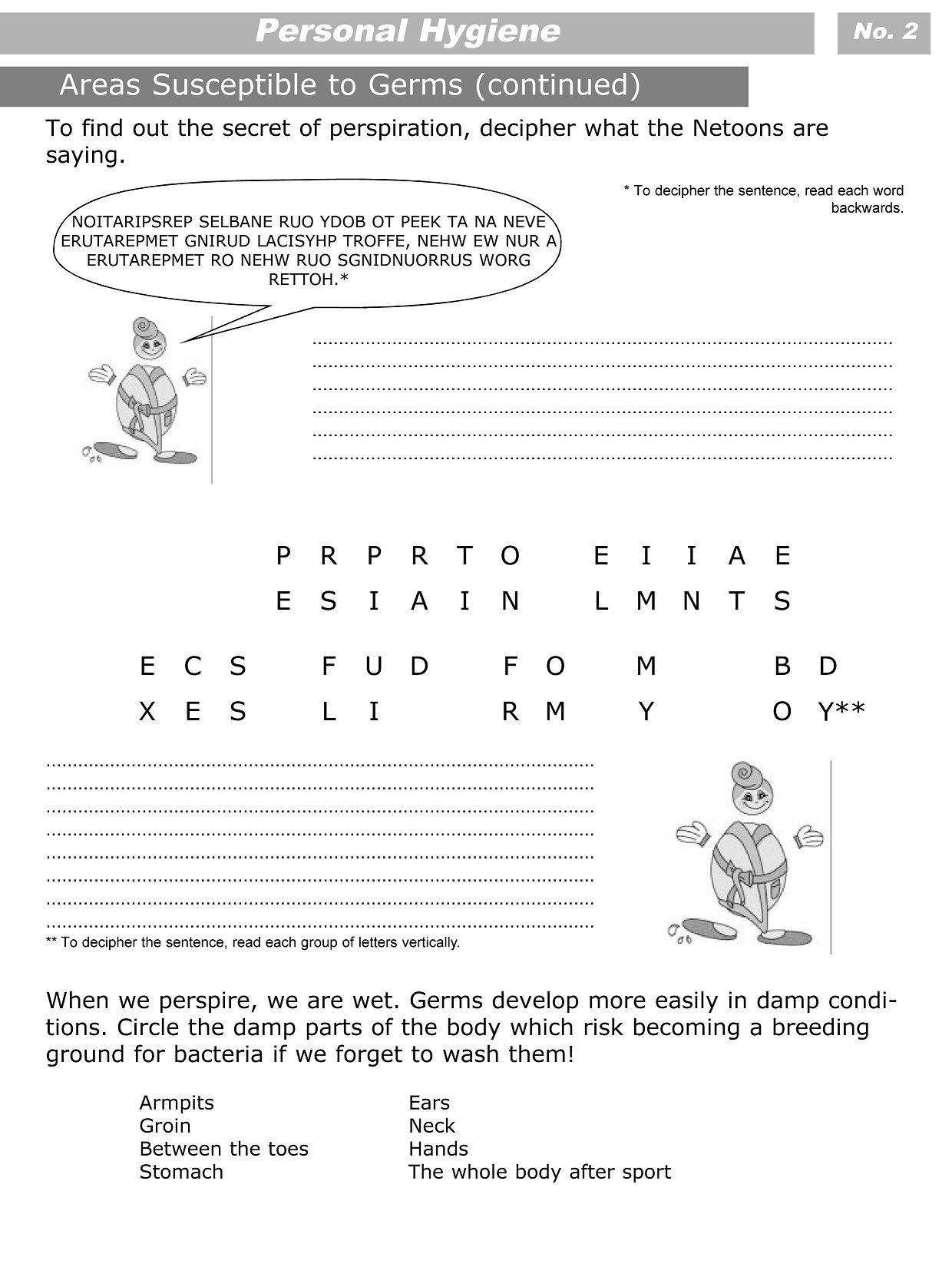 Free Printable Personal Hygiene Worksheets