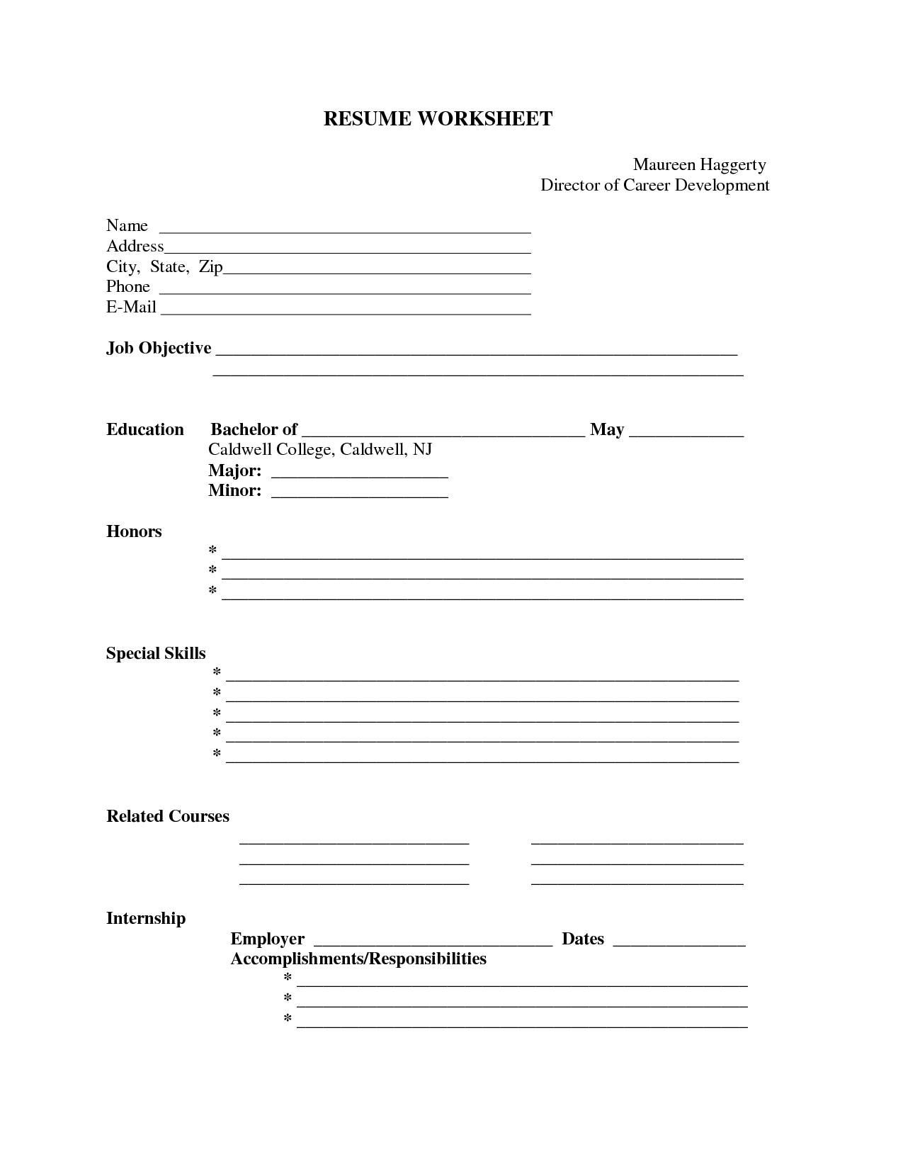 Blank Resume Form To Print Fill In The Cv Template 4
