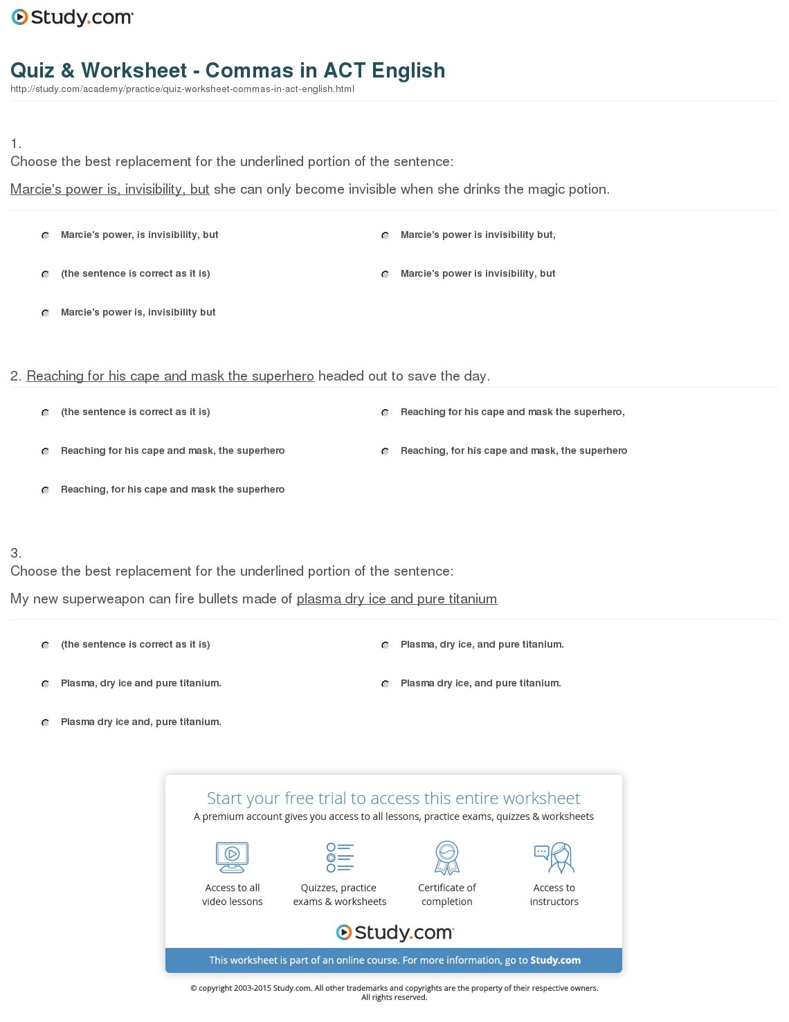 Free Printable Act Practice Worksheets