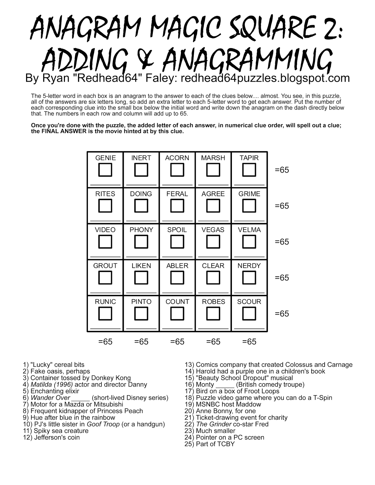 Free Printable Anagram Magic Square Puzzles