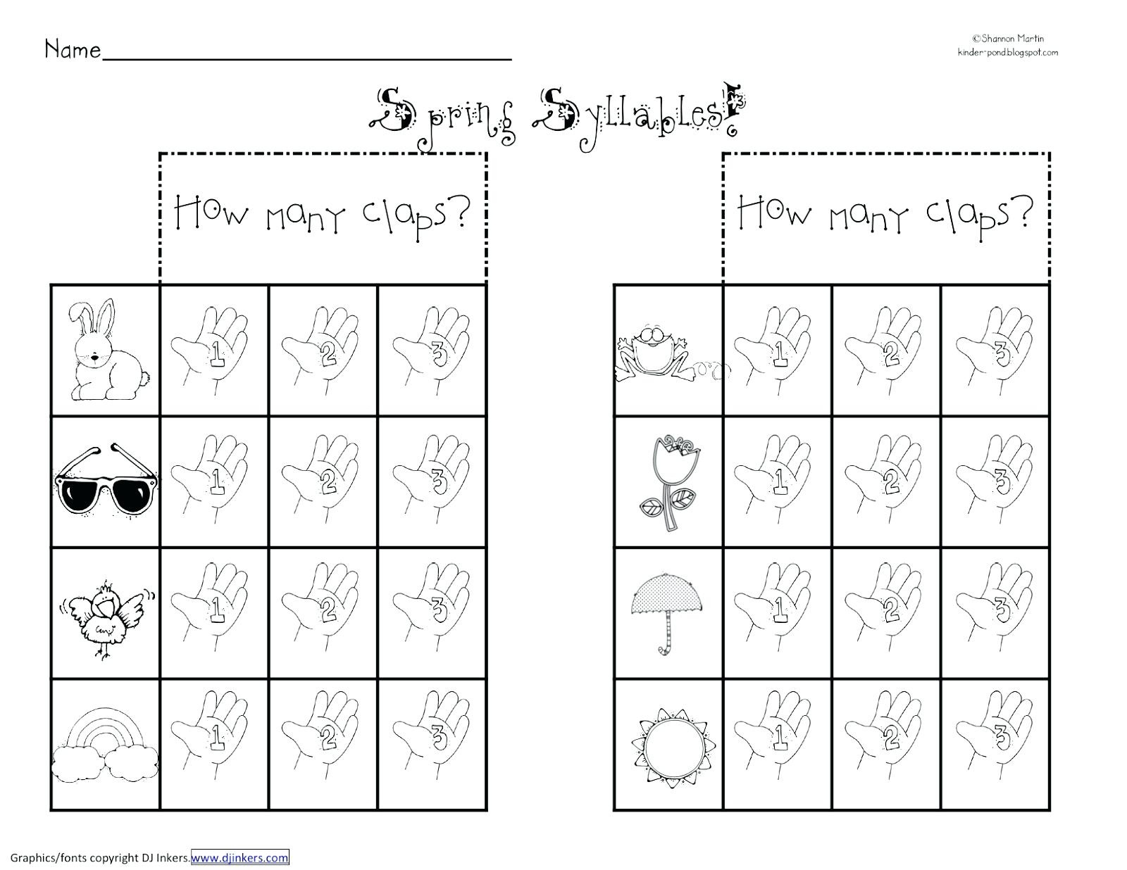 The First Syllable Type Worksheet