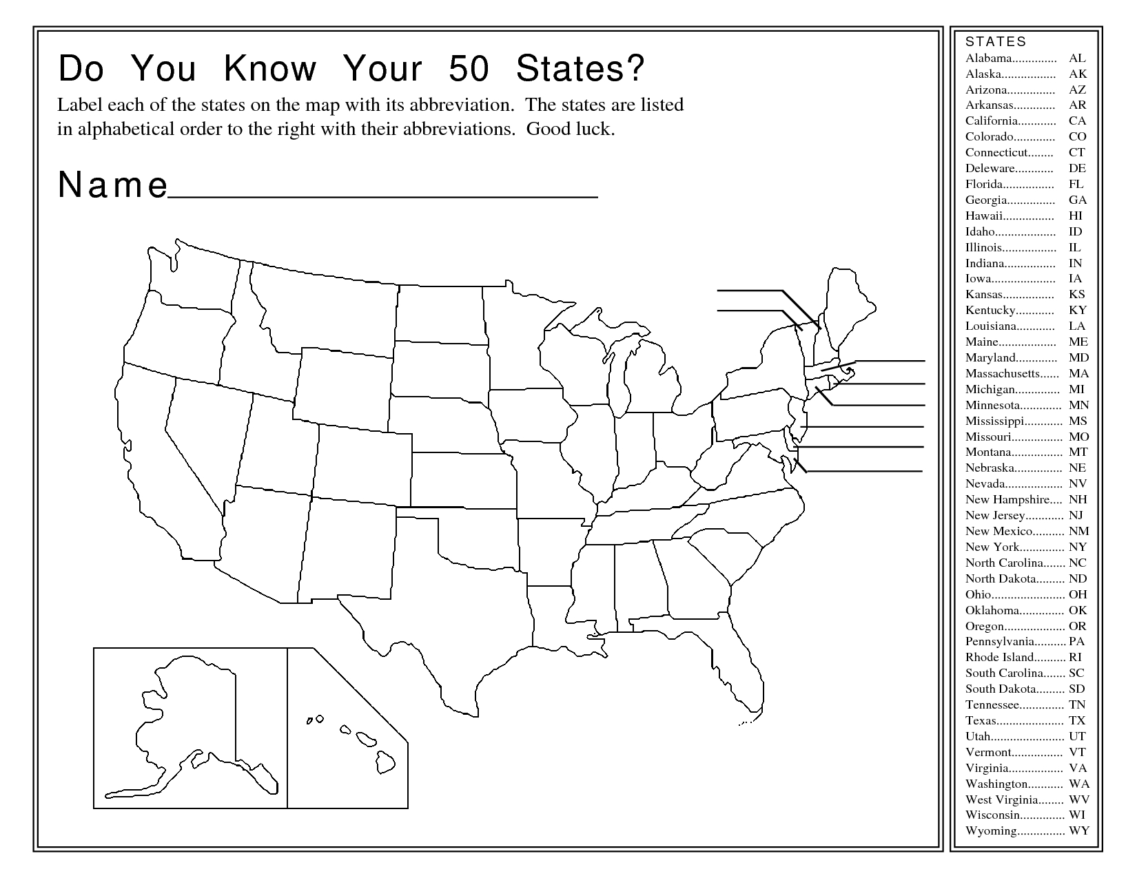 Free Printable States And Capitals Worksheets