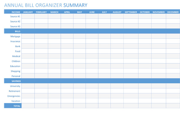 5 Free Bill Organizer Templates Printables