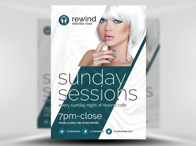 60  Free Flyer Templates in PSD   Download and Customize   Free PSD     Sunday Session Free Flyer Template