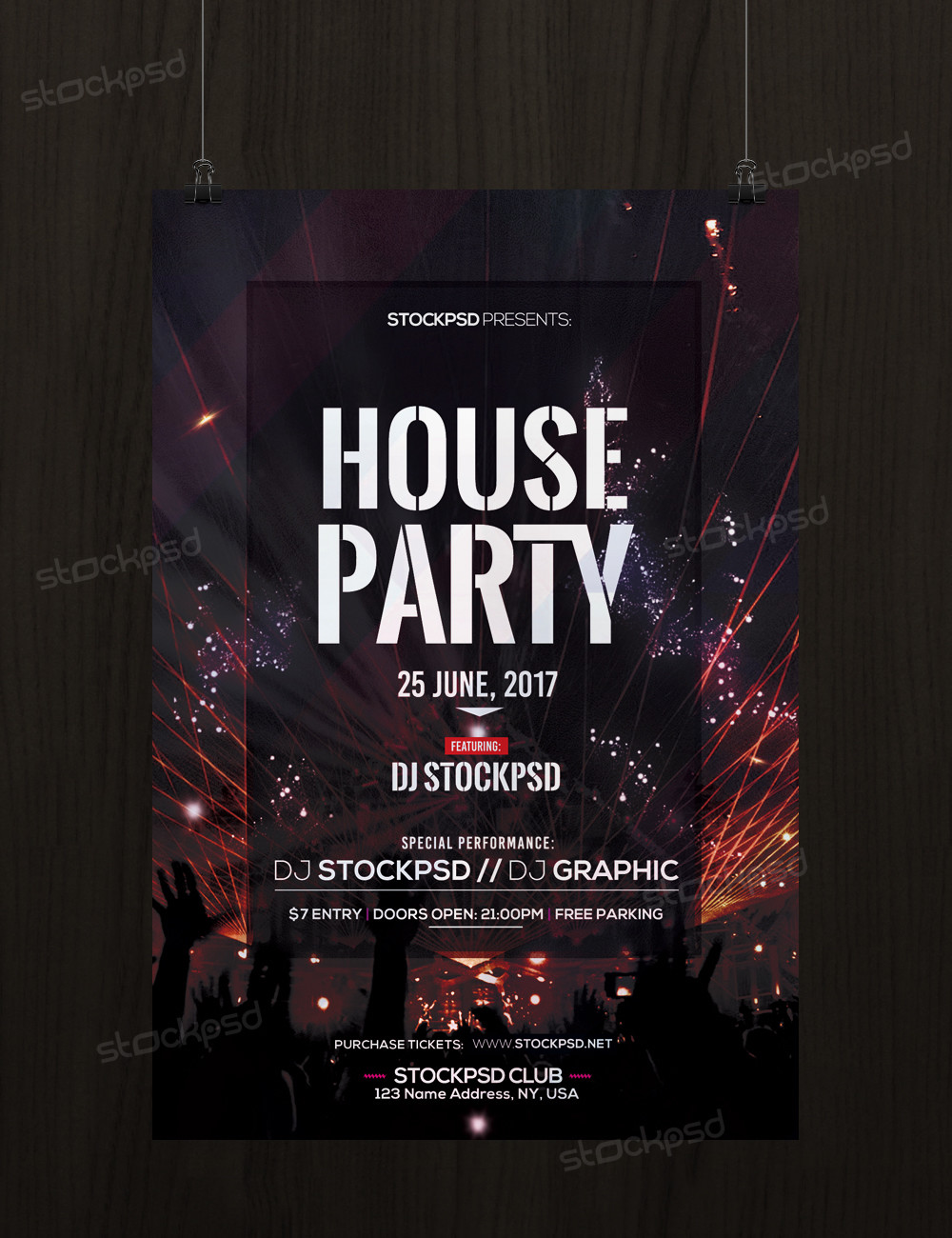 70 Premium   Free Flyer Templates PSD absolutely Free to Download     House Party     Download Free PSD party flyer Template