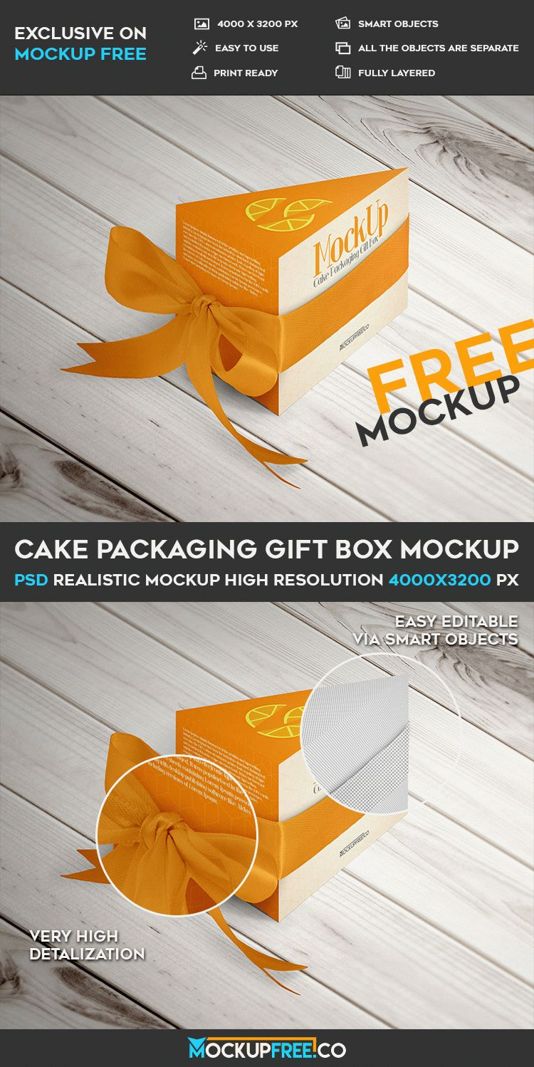 Download Cake Packaging Gift Box - Free PSD Mockup | Free PSD Templates
