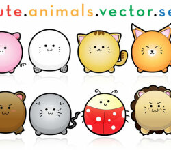 Cute Puffy Animals Free Vector Art
