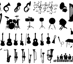 Musical Instruments Silhouettes Vector