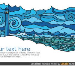 Landscape Postcard Design Vector