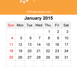 January 2015 Calendar Template Vector Free