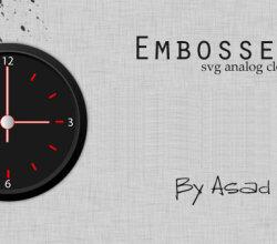 Vector Embossed Svg Analog Clock