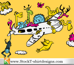 Cartoon Animals Riding Airplane With Free Vector Art Tshirt Design