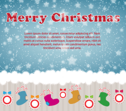 Christmas Card Design with Ornaments,  Santa's Boot on Snow Background
