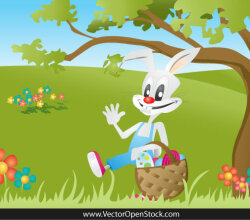 Cartoon Bunny Carrying a Easter Eggs basket on Landscape Vector
