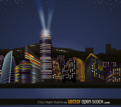 City Nights Skyline Vector Free