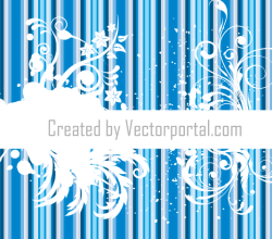 Vector Floral Design with Grunge Striped Background
